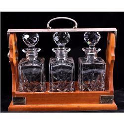 Antique English Locking Liquor Decanter Caddy