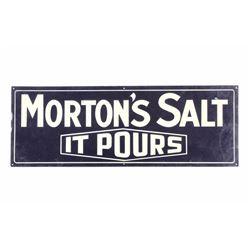 Original Morton Salt Tin Advertising Sign