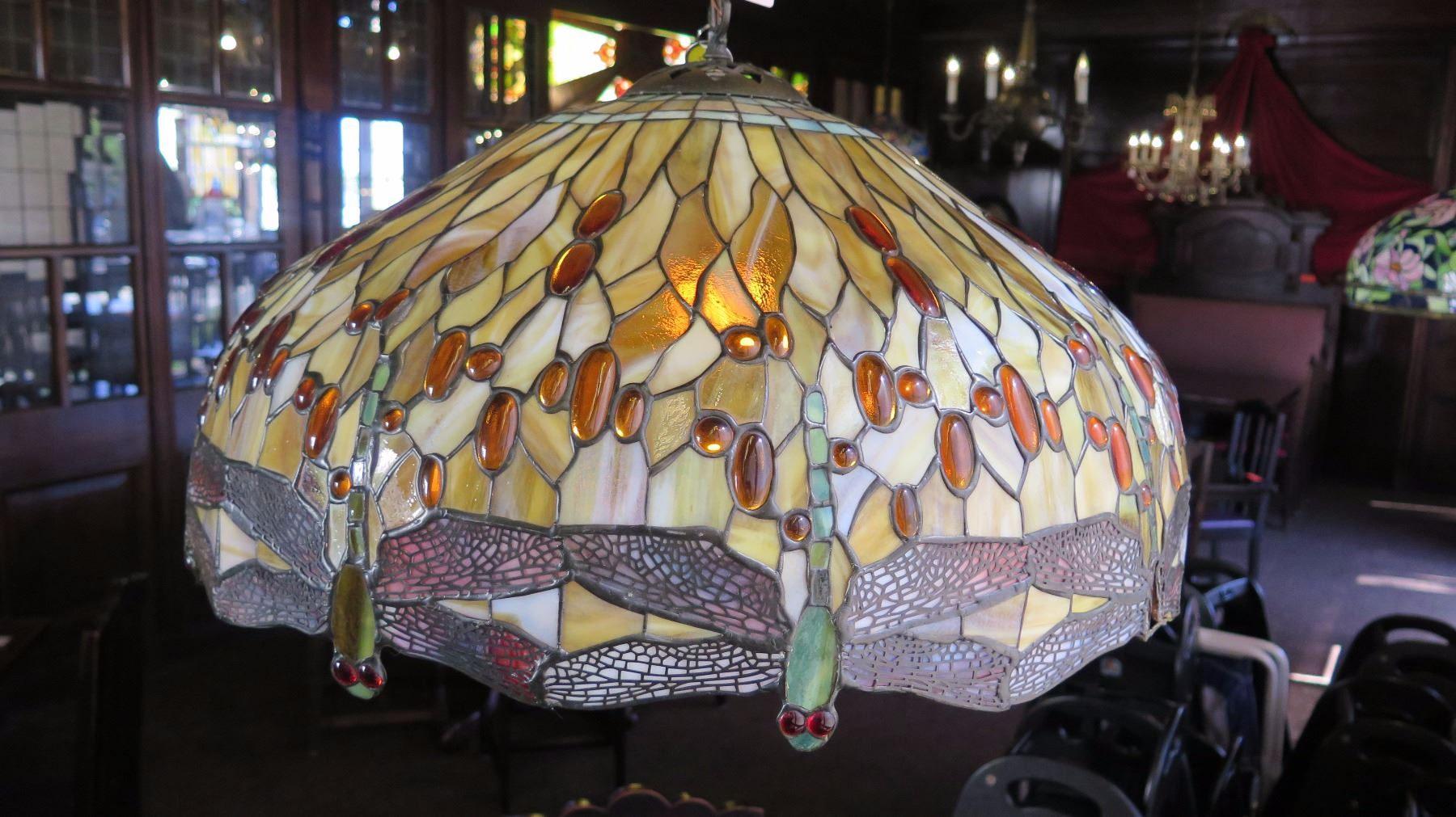 Tiffany Style Stained Glass Chandelier Purple Winged Dragonflies Amber Red White Some Chipping Oahu Auctions