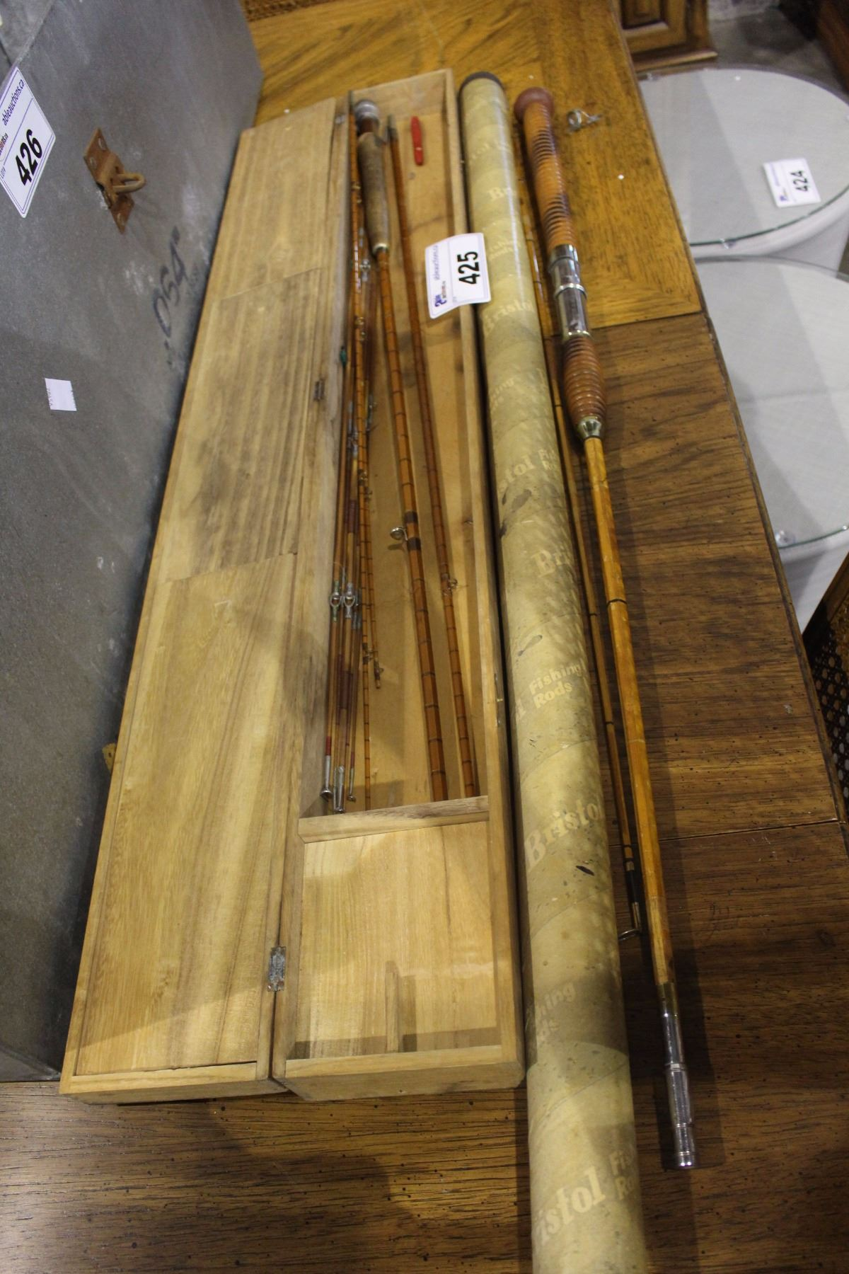 PAIR OF HARDY BROTHERS FISHING RODS, FLY ROD AND MOOCHING
