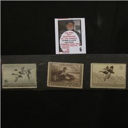 1939 RW6, 1940 RW7, & 1945 RW12 Mint, all unsigned  Federal Migratory Bird Hunting Stamps. All hinge