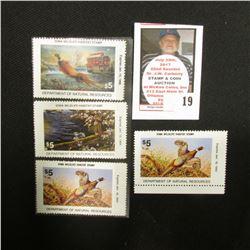 (2) 1992, 1993, & 1995 Iowa Wildlife Habitat Stamps, Mint condition, unsigned.