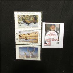 1991, 1994, & 1997  Iowa Wildlife Habitat Stamps, Mint condition, unsigned.