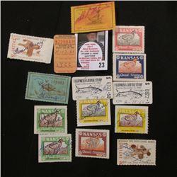 (2) 1966 California License Stamps for American Shad; 1947, 56, 57, 58, 59, (2) 60 Kansas Quail Hunt