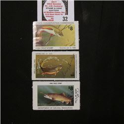 1979 signed, 1989 signed, & 1985 unsigned Iowa Trout Stamps.