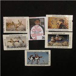 1980, 89, 90, 92, 93 Iowa Migratory Waterfowl Stamps, all signed and used.