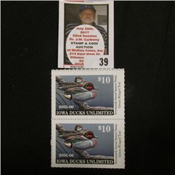 2005-2006 Iowa Ducks Unlimited $10 attached vertical pair of  stamps, mint with original gum.