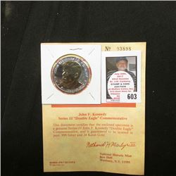 """John F. Kennedy Series JJ ""Double Eagle"" Commemorative"" with Certificate of Authenticity, layered i"