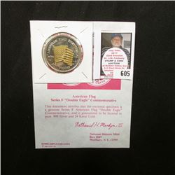 """American Flag Series F ""Double Eagle"" Commemorative"" with Certificate of Authenticity, layered in b"