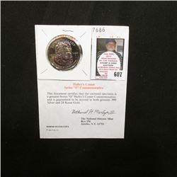 """Halley's Comet Series 0 ""Double Eagle"" Commemorative"" with Certificate of Authenticity, layered in"