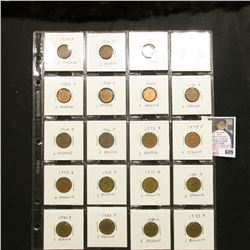 "Partial Set of German One to Five Pfennig Coins in a 20-pocket 2"" x 2"" Plastic page. (20 pcs.)."