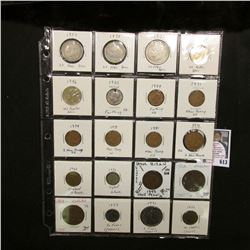 "20-pocket 2"" x 2"" Plastic page full of World Coins including Great Britain and France. (20 pcs.)"
