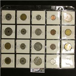 "20-pocket 2"" x 2"" Plastic page full of World Coins including New Zealand, Fiji, & Denmark. (20 pcs.)"