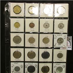 "20-pocket 2"" x 2"" Plastic page of World Coins including Denmark, Sweden, Norway, & Italy. (20 pcs.)"