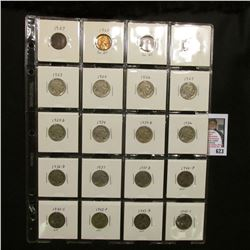 "20-pocket 2"" x 2"" Plastic page containing 1907 Indian Cent; 1960 P Small Date BU; (2)1960 D Small da"