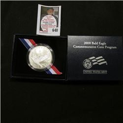 2008 P Bald Eagle BU Commemorative Silver Dollar in original case as issued. Mtg. 500,000.
