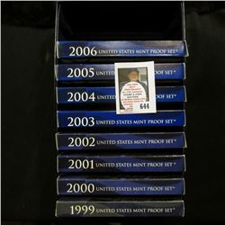 U.S. Proof Set Box containing 1999, 2000, 2001, 2002, 2003, 2004, 2005, & 2006 S U.S. Proof Sets, al
