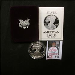 1989 S U.S. Proof American Eagle Silver Dollar .999 One Ounce in original case of issue.