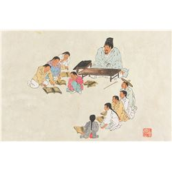Old Korean Watercolour on Paper with Artist Seal