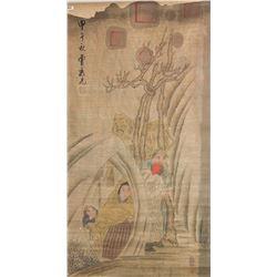 Cao Xiuxian 1708-1784 Watercolour on Paper Roll