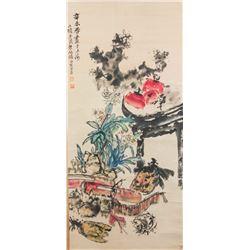 Zhu Yizhan 1892-1996 Chinese Watercolour Scroll