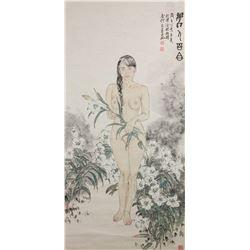 He Jiaying b.1957 Chinese Watercolour Paper Scroll