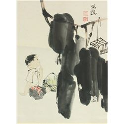 Zhou Sicong 1939-1996 Chinese Watercolour on Scrol