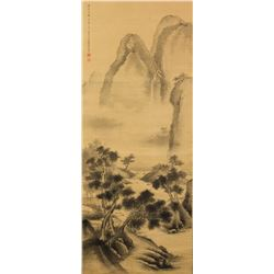 Tian Zhong Chinese Ink on Silk Scroll