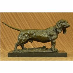 Basset Hound Dog Bronze Sculpture On Marble Base Figurine