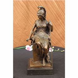 Female Greek Warrior Bronze Sculpture on Marble base Statue