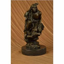 Native American Warrior Relaxing Bronze Sculpture