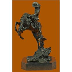 Bronco Buster Bronze Sculpture on Marble Base Western Art Figurine
