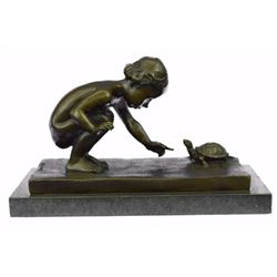 Girl Playing With Turtle Bronze Sculpture on Marble Base Figurine