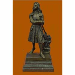 Art Deco Joan of Arch Bronze Sculpture on Marble Base Figurine