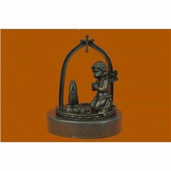 Solid Praying Baby Angel Bronze Sculpture