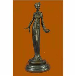 Art Nouveau Fashion Model Bronze Sculpture