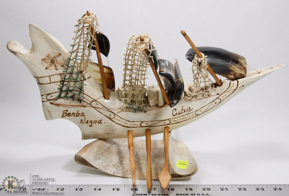 Jaw Bone Carving With Cow Horn Ship Display