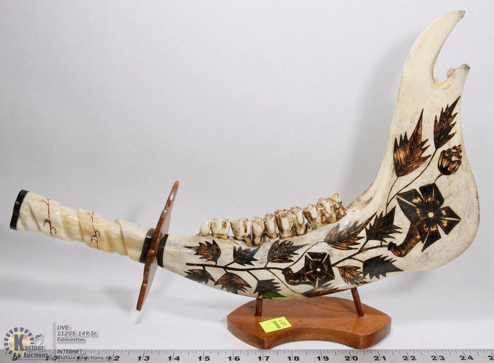 Handmade Jaw Bone Sword Carving
