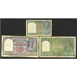 Reserve Bank of India and Government of India, overprinted for Burma Use.