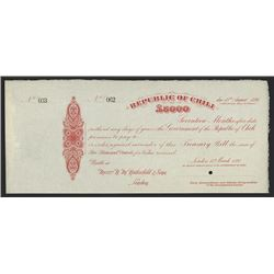 Republic of Chili Treasury Bill Specimen.