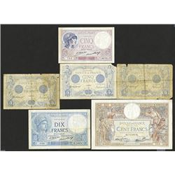 Banque de France. 1913-39 Issues. One a short snorter.
