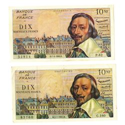 Banque de Francs, 1960-61, Pair of Issued Notes