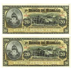Banco de Hidalgo, 19xx (ca.1900-1913) Reminder Banknote Pair.