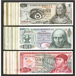 Banco de Mexico, 5, 10, 20 Pesos ca.1969-74 Banknote group.