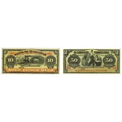 Banco De Tamaulipas, ca.1900-1913 Remainder Banknote Pair.
