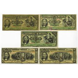 Banco Londres y Mexico, 1897 to 1913 Issue Banknote Quintet.