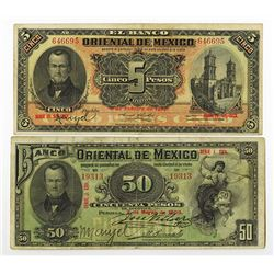 Banco Oriental De Mexico, 1903 to 1914 Issue Banknote Pair.