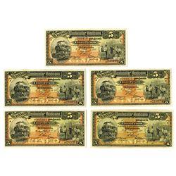 Banco Peninsular Mexicano, 1914 Banknote Quintet.
