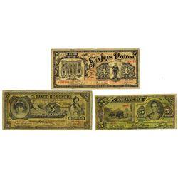 Mexico Banknote Trio, ca.1909-1914.