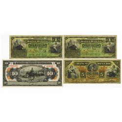 Mexico Banknote Trio, ca.1910-1914.